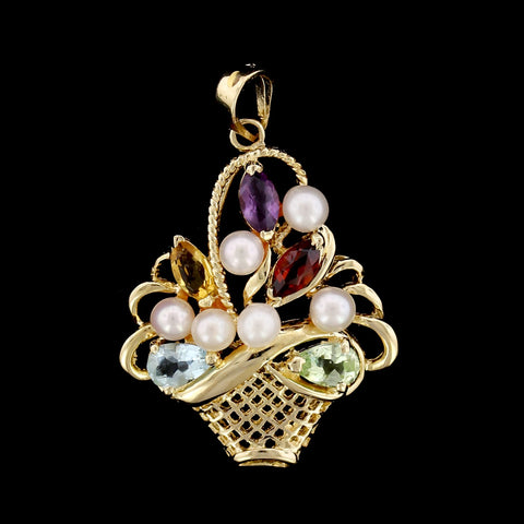 14K Yellow Gold Estate Gem-set Flower Basket Charm