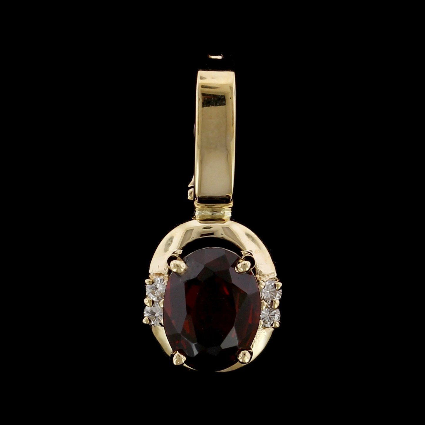 14K Yellow Gold Estate Garnet and Diamond Pendant/Enhancer