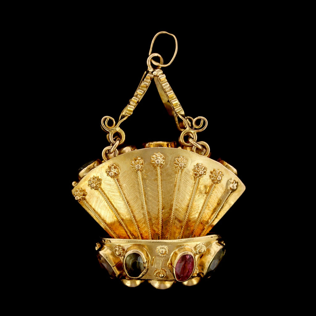 18K Yellow Gold Estate Gem-set Basket Charm