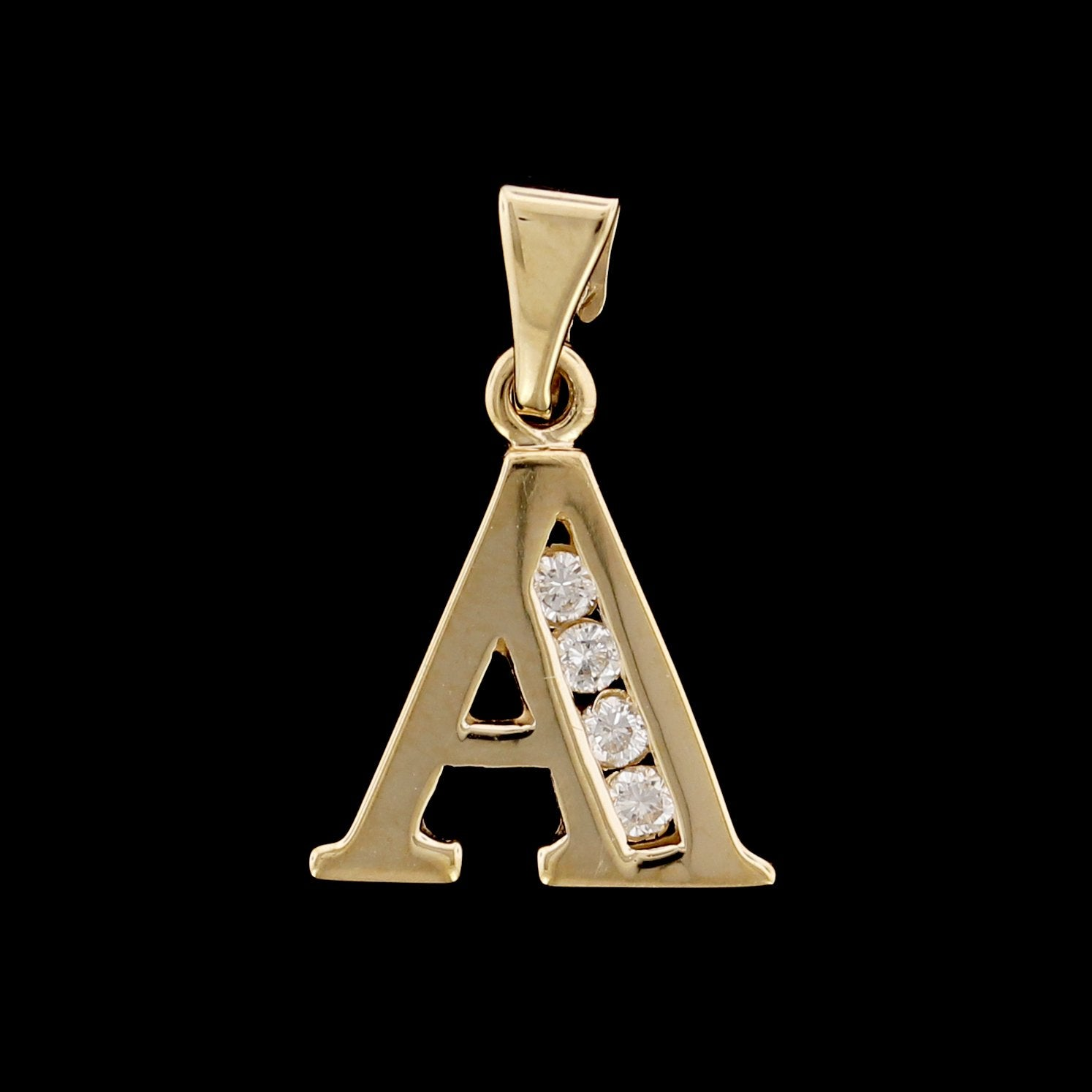 14K Yellow Gold Estate Diamond Initial A Charm