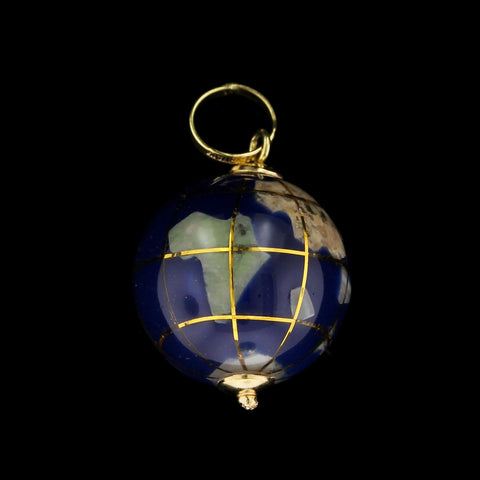 18K Yellow Gold Estate Enamel World Globe Charm