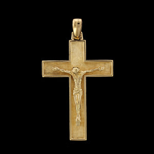 18K Yellow Gold Estate Crucifix Cross