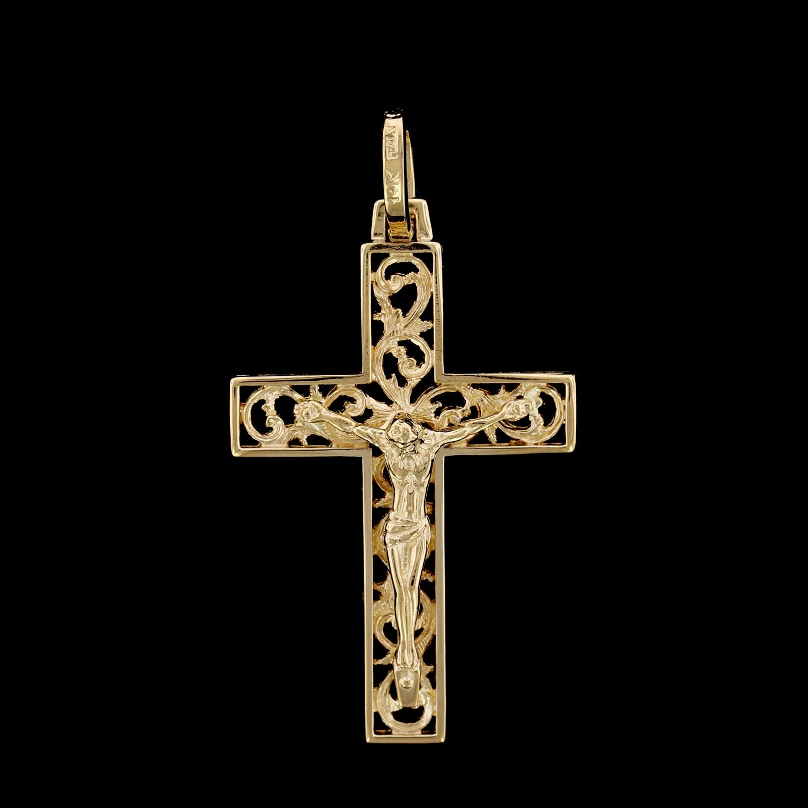 14K Yellow Gold Estate Crucifix Cross