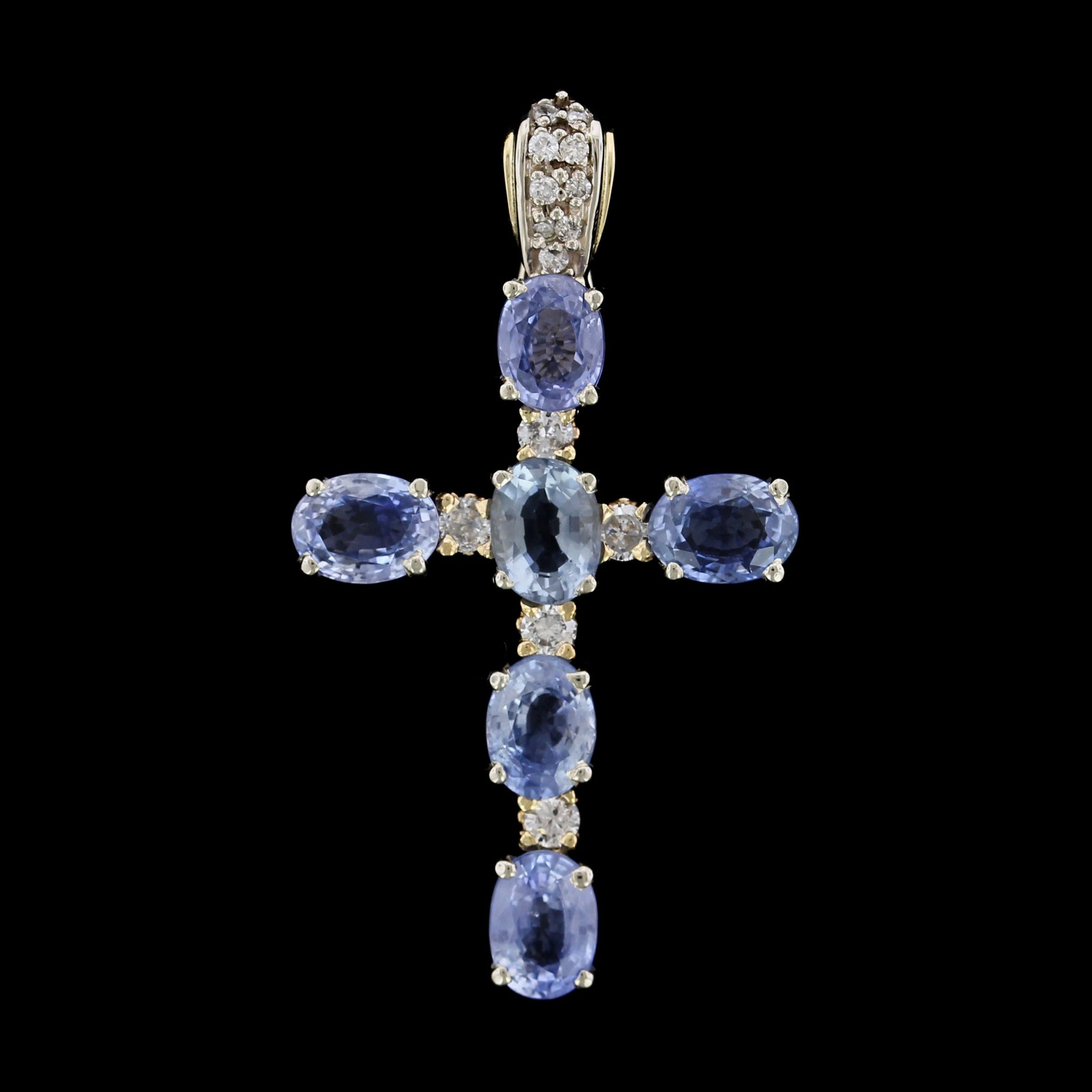 14K Two-tone Gold Estate Sapphire and Diamond Cross Pendant/Enhancer