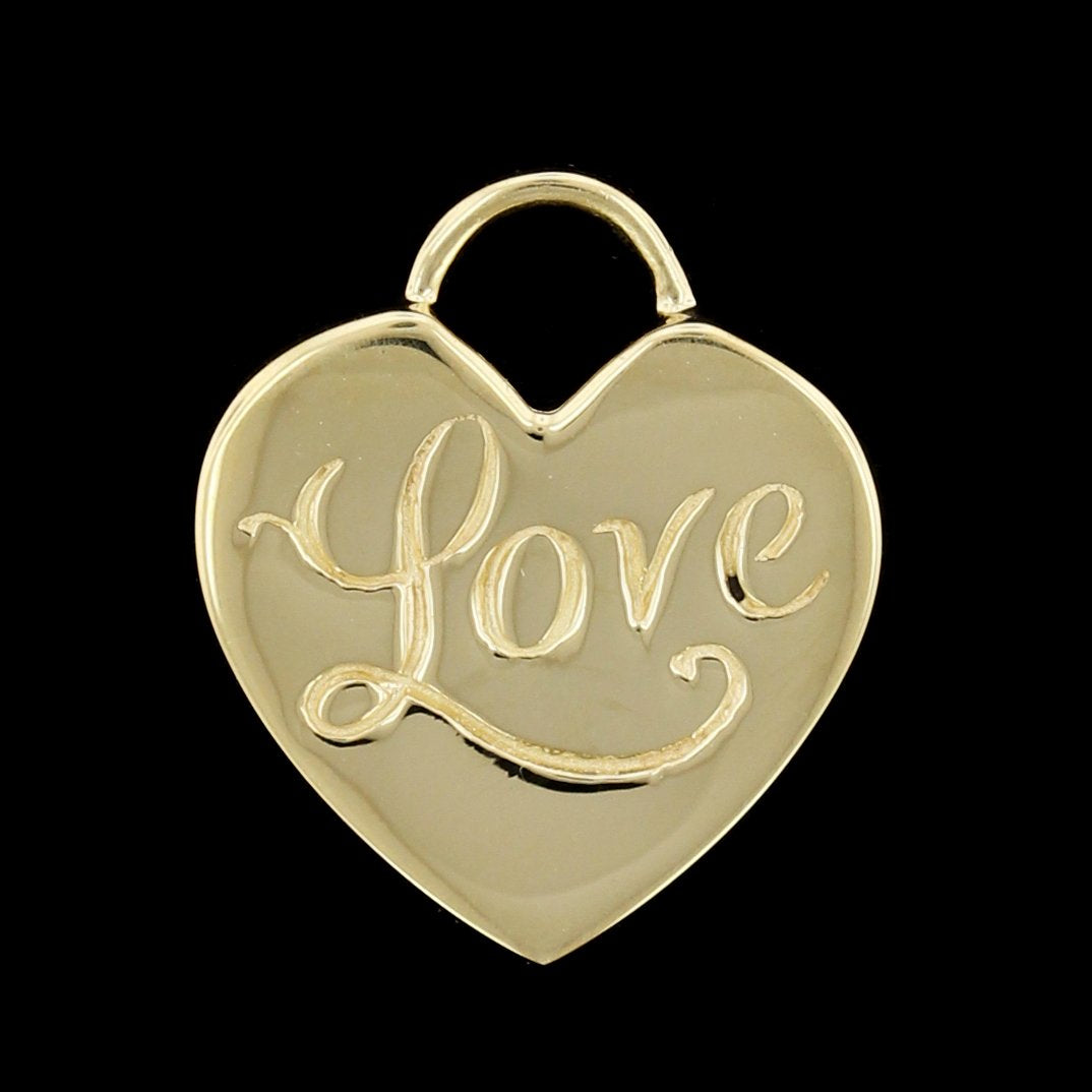 14K Yellow Gold Estate Love Heart Charm