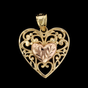 14K Yellow and Rose Gold Estate Heart Charm