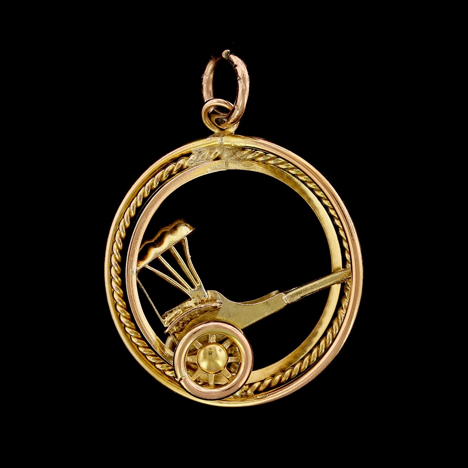14K Yellow Gold Estate Rickshaw Charm