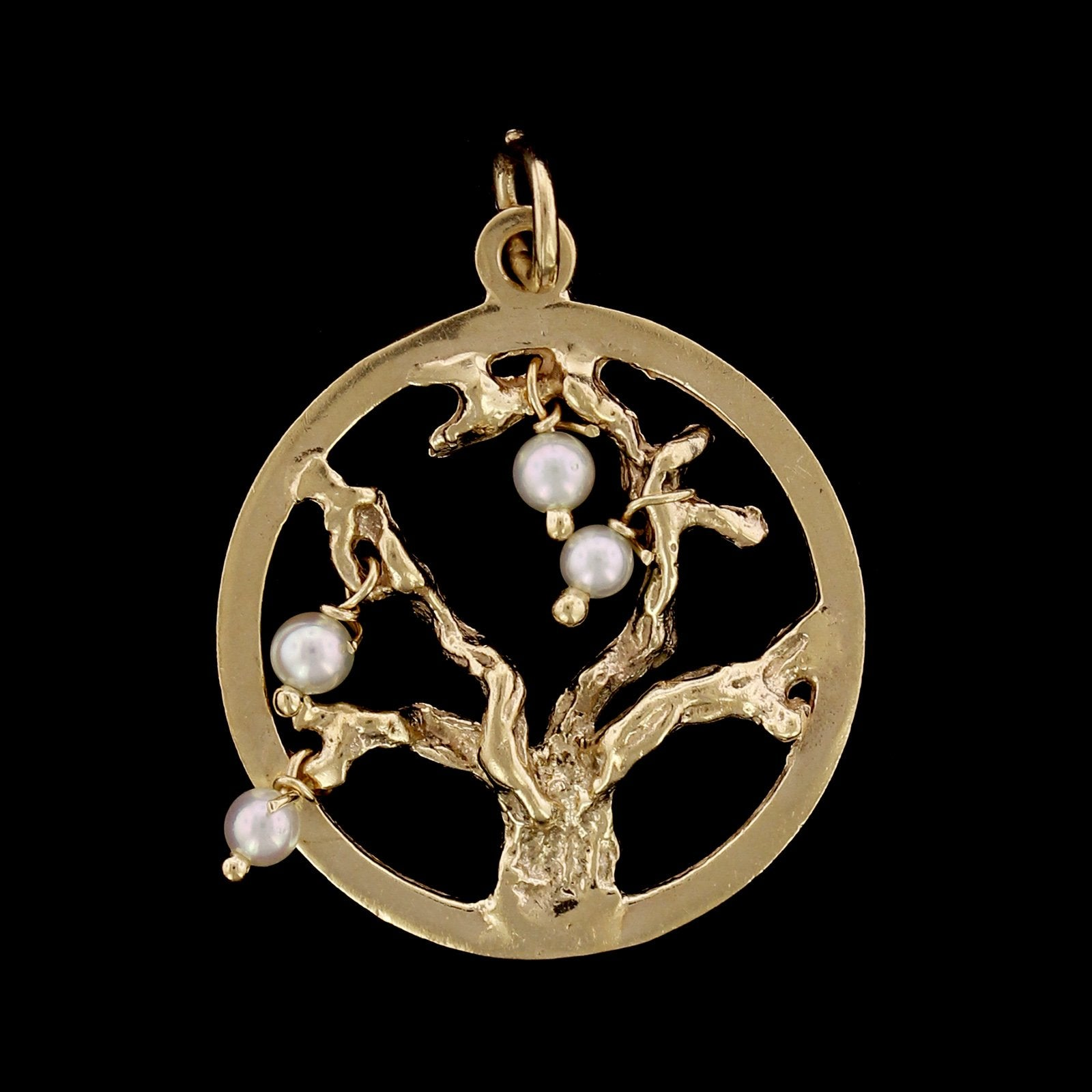 14K Yellow Gold Estate Cultured Pearl Tree of Life Charm