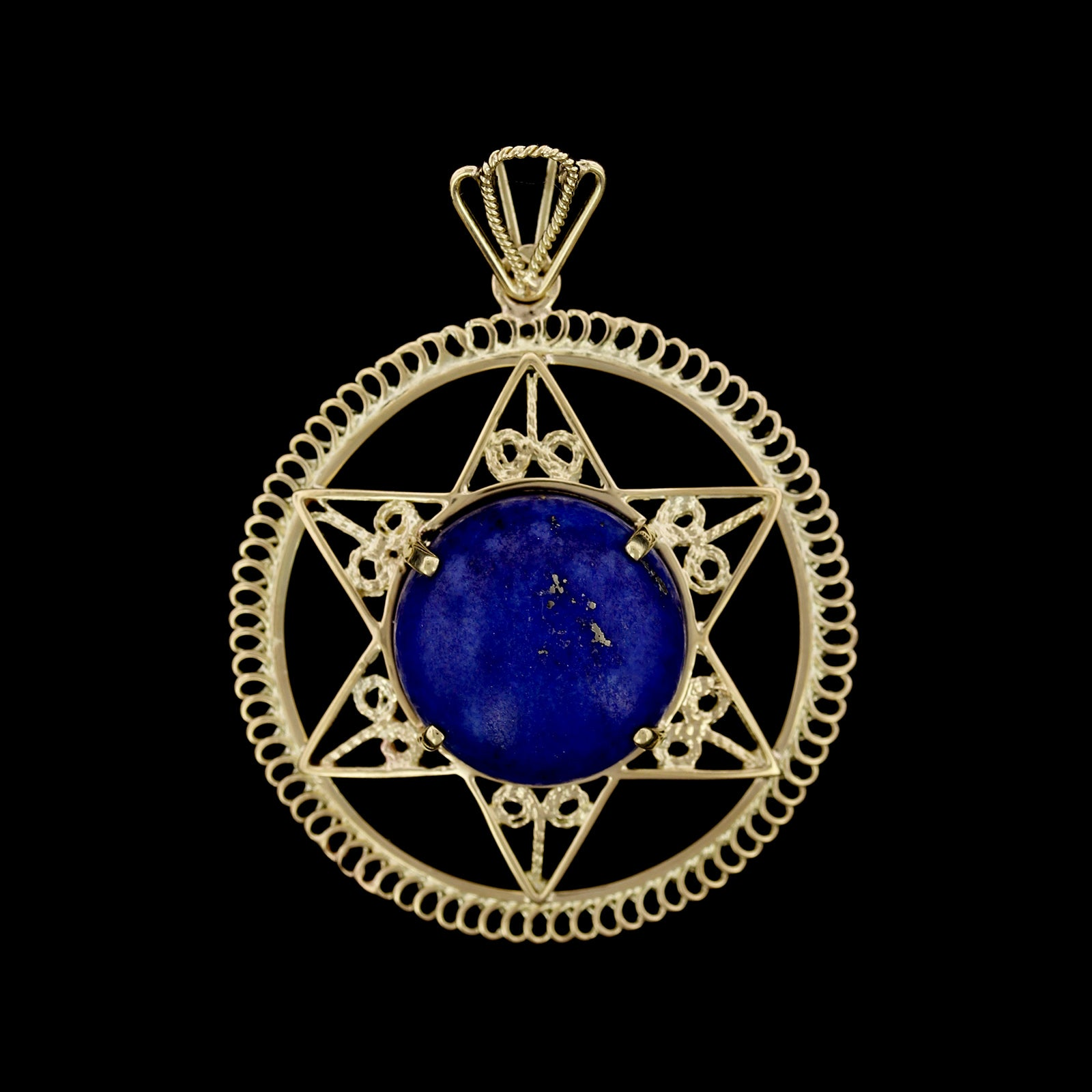 14K Yellow Gold Estate Lapis Pendant