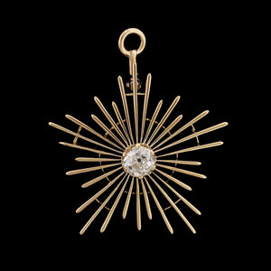 Vintage 14K Yellow Gold Diamond Starburst Pendant