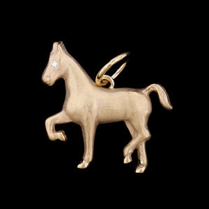 14K Yellow Gold Estate Horse Charm