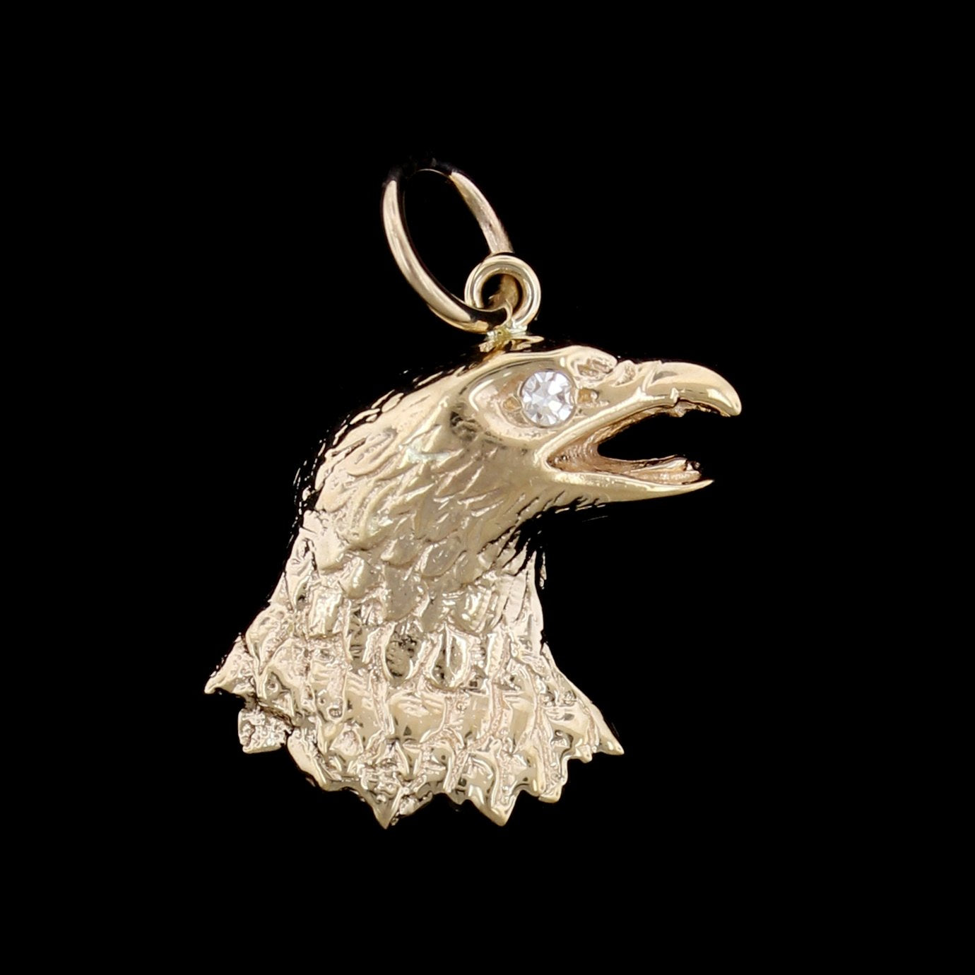 14K Yellow Gold Estate Eagle Head Charm