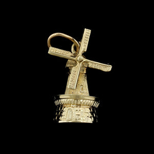 14K Yellow Gold Estate Movable Windmill Charm