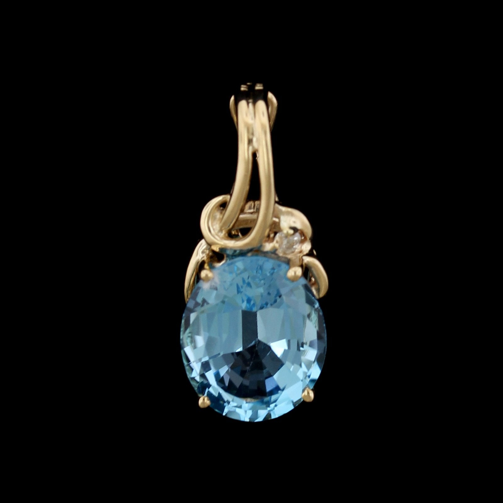 14K Yellow Gold Estate Blue Topaz and Diamond Pendant Enhancer