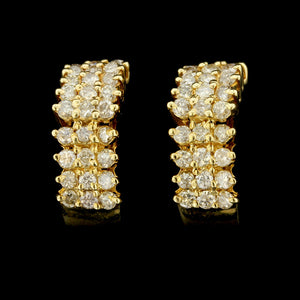14K Yellow Gold Diamond Cluster Hoop Earrings