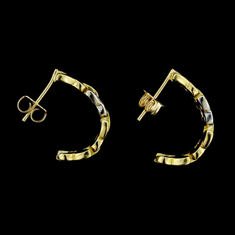 14K Diamond Butterfly Hoops