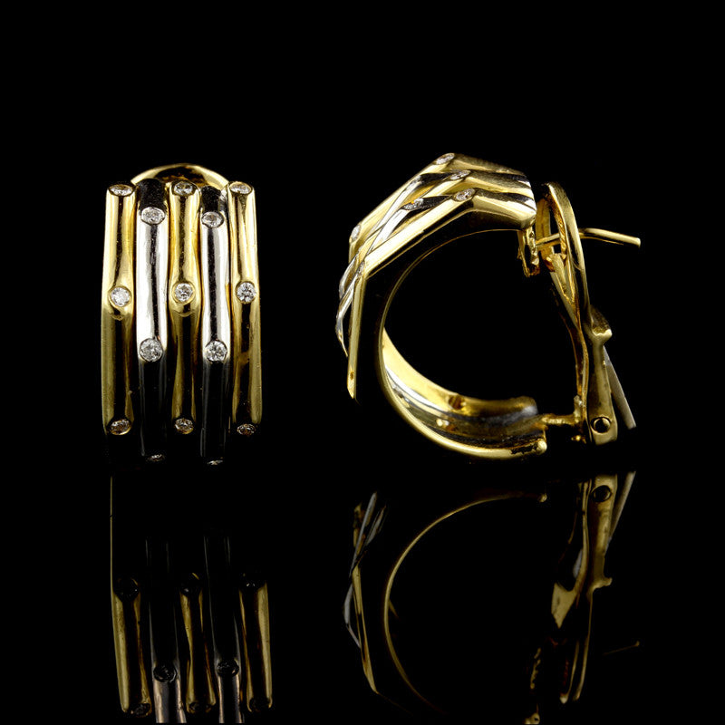 18K Two-Tone Gold Diamond Hoop Earrings