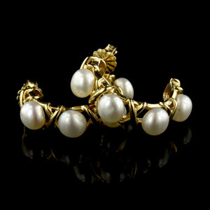 14K Yellow Gold Pearl 'X' Earrings