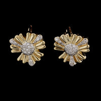 14K Yellow Gold Diamond Flower Earrings