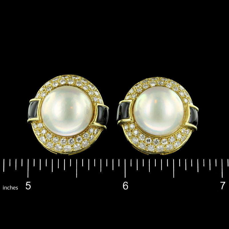 18K Yellow Gold Cultured Mabe Pearl and Diamond Earrings