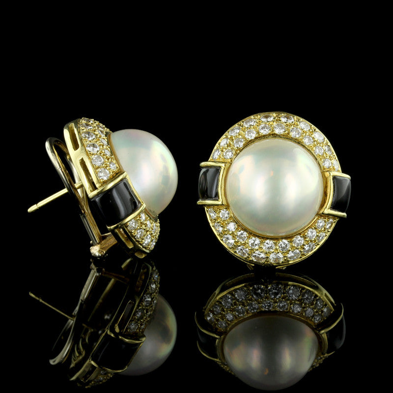 18K Yellow Gold Mabe Pearl and Diamond Earrings