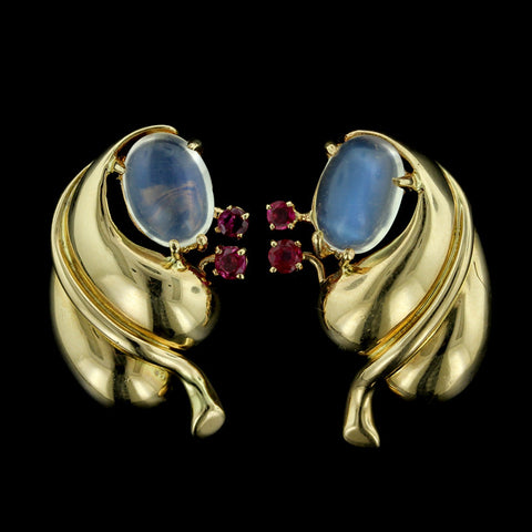 14K Yellow Gold Moonstone and Ruby Earrings