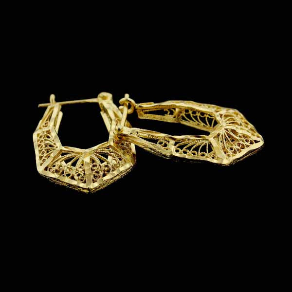 14K Yellow Gold Filigree Style Hoop Earrings