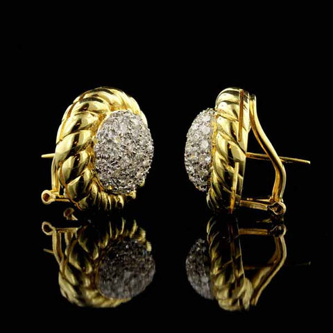 18K Yellow Gold Diamond Earrings