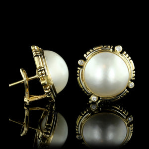 14K Yellow Gold Mabe Pearl and Diamond Earrings