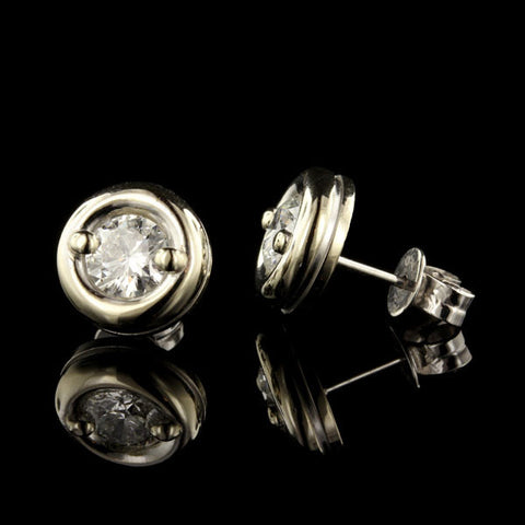18K White Gold Bezel Set Diamond Studs