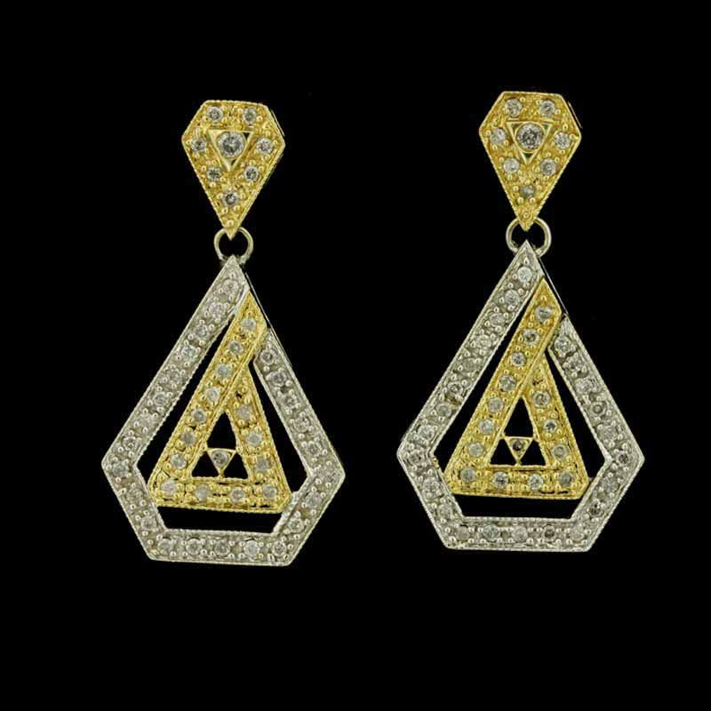 14K Two Tone Gold and Diamond Earrings