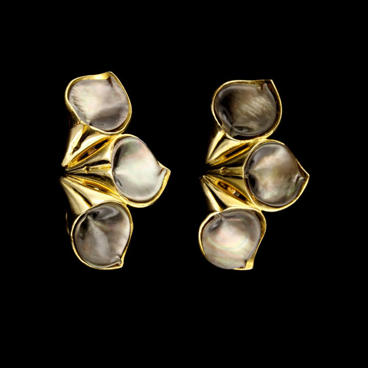 18K Yellow Gold Black Mother of Pearl Earrings