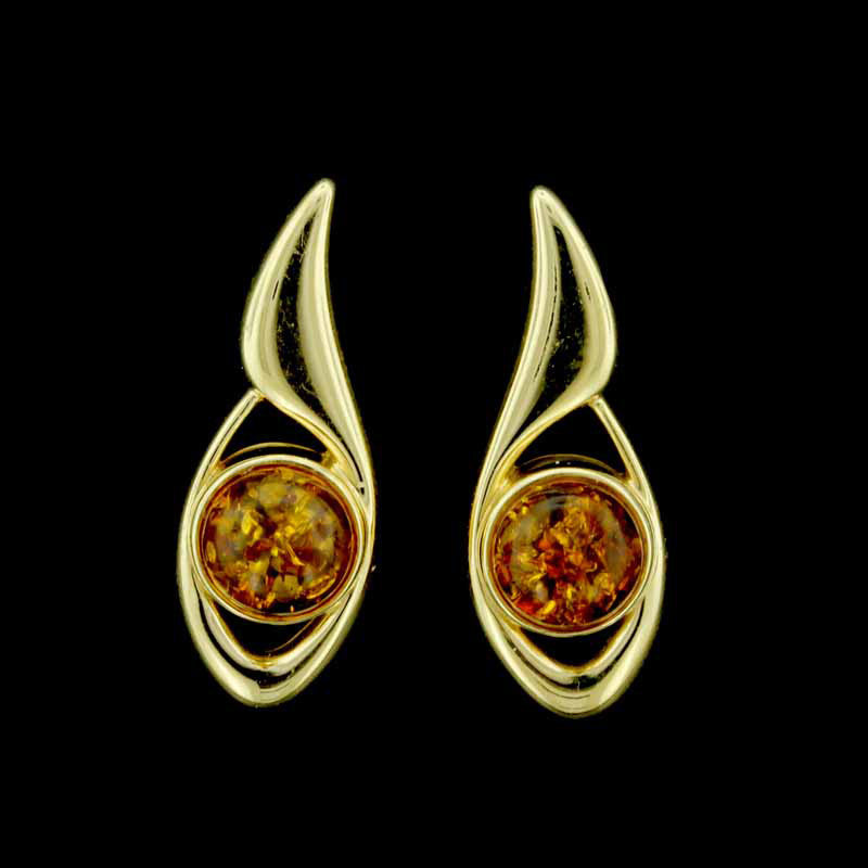 14K Yellow Gold and Amber Earrings