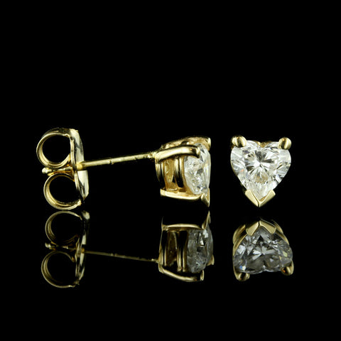 14K Yellow Gold and Diamond Studs