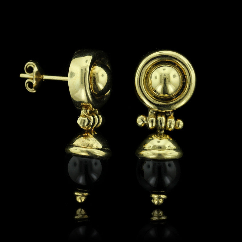 18K Yellow Gold Onyx Earrings