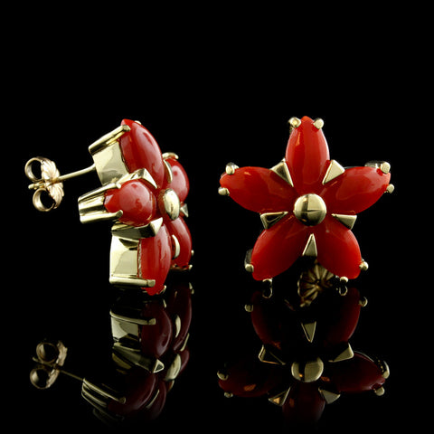 14K Yellow Gold and Coral Flower Earrings