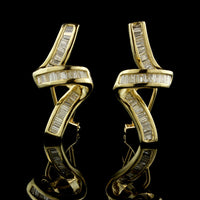 14K Yellow Gold Diamond Swirl Earrings