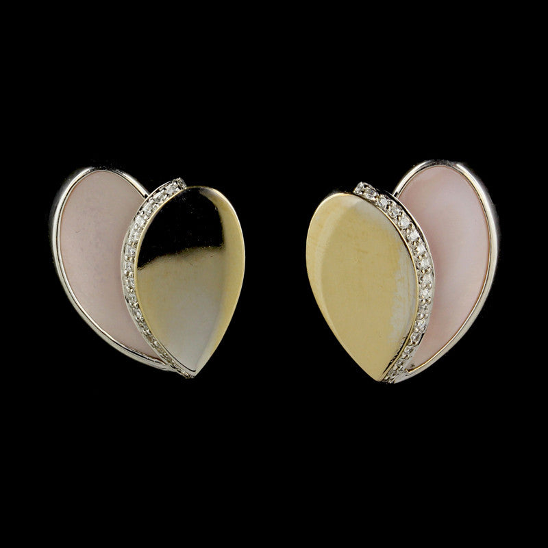 Movado 18K White Gold Pink Mother of Pearl and Diamond Heart Earrings
