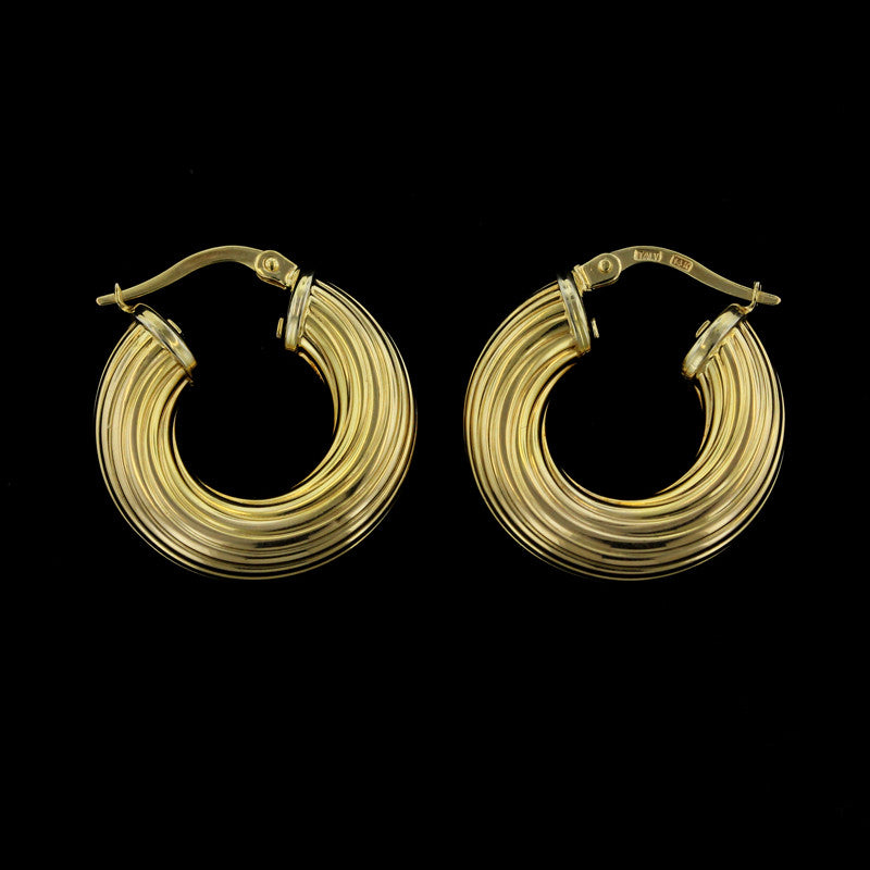 14K Yellow Gold Ribbed Hoop Earrings