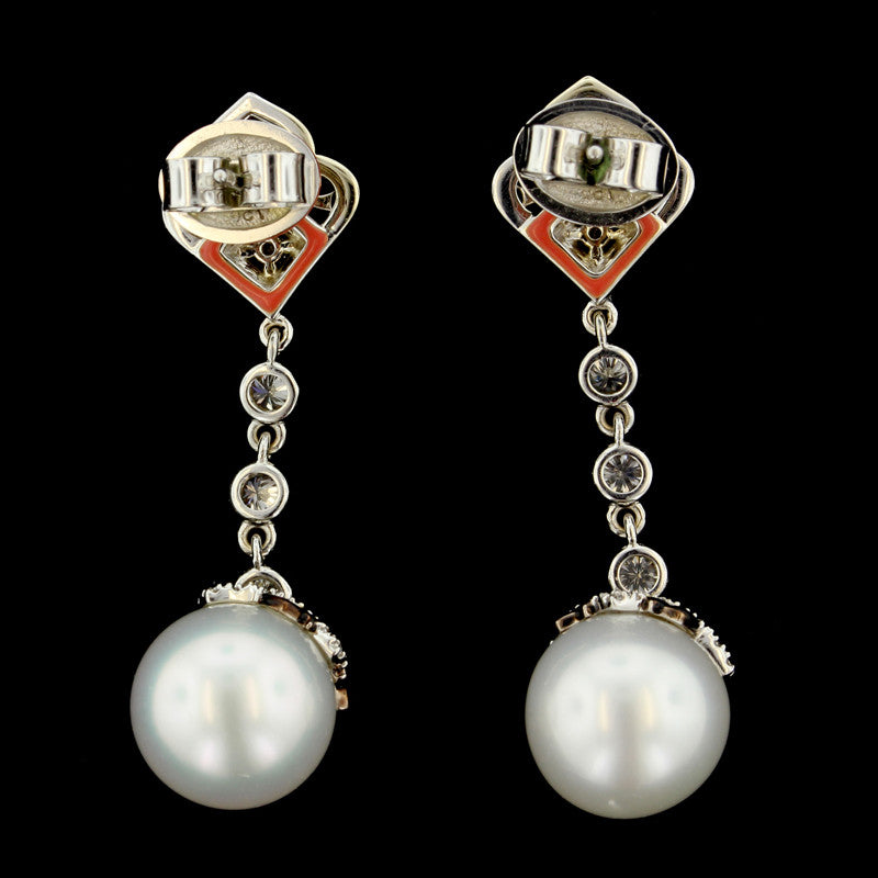 Ivanka Trump 18K White Gold Pearl and Diamond Drop Earrings