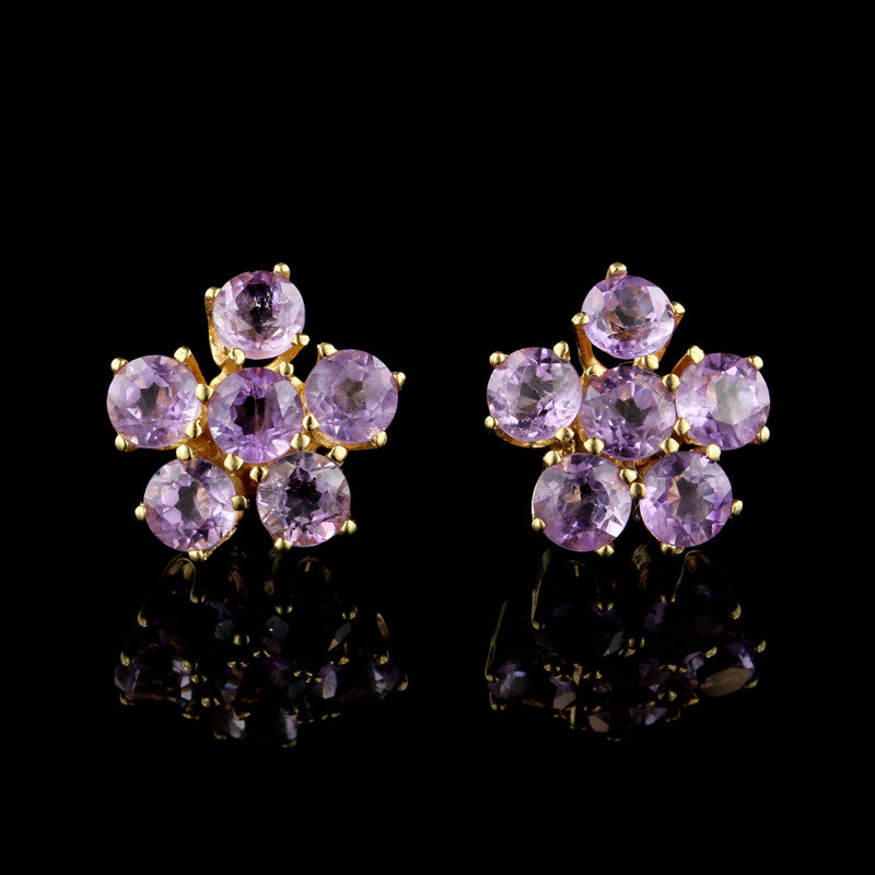 14K Yellow Gold Amethyst Cluster Earrings