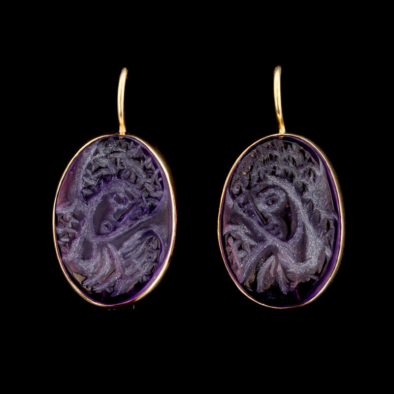 14K Yellow Gold Amethyst Carved Cameo Earrings