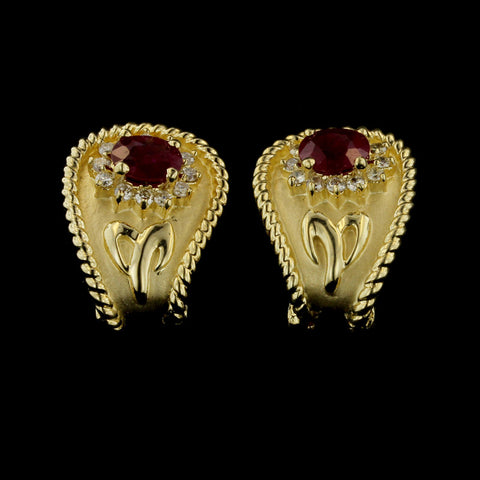 14K Yellow Gold Ruby and Diamond Earrings