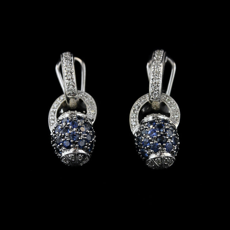 18K White Gold Sapphire and Diamond Drop Earrings