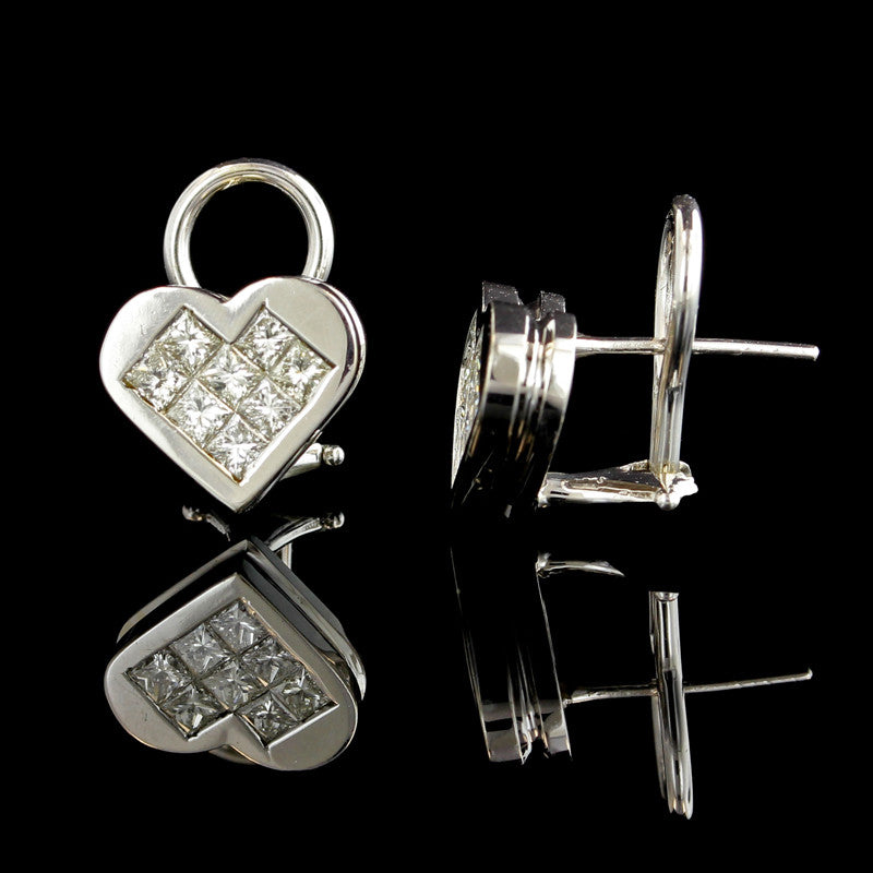 14K White Gold Diamond Heart Earrings