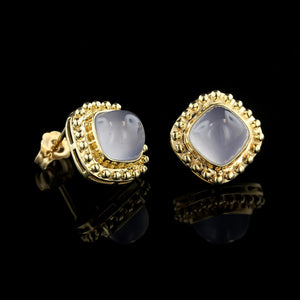 14K Yellow Gold Chalcedony Studs