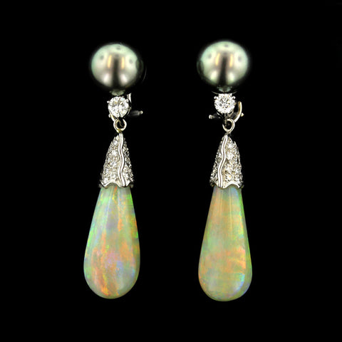 18K White Gold Tahitian Pearl, Opal and Diamond Earrings