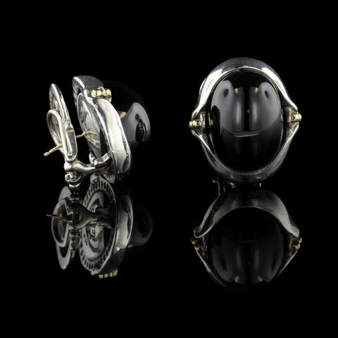 Lagos Sterling Silver and 18K Yellow Gold Onyx Caviar Earrings