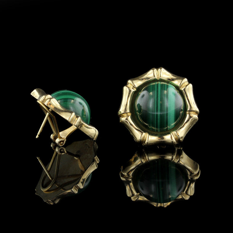 14K Yellow Gold Malachite Earrings
