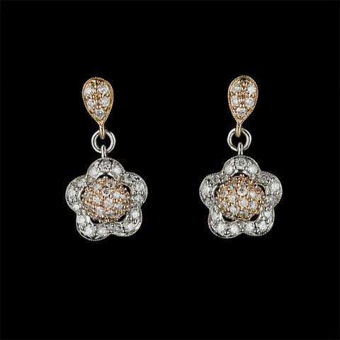 14K Rose and White Gold Diamond Flower Earrings